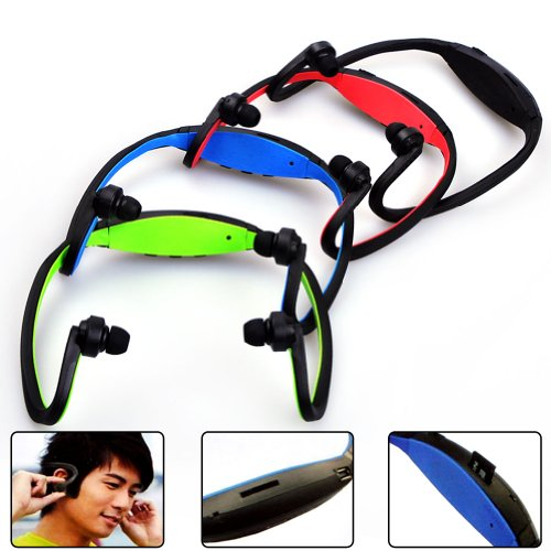 E-Prance New Wireless Sport Head Loop Tf Card Slot Sports Neckband Mp3 Player And Headphones,Blue