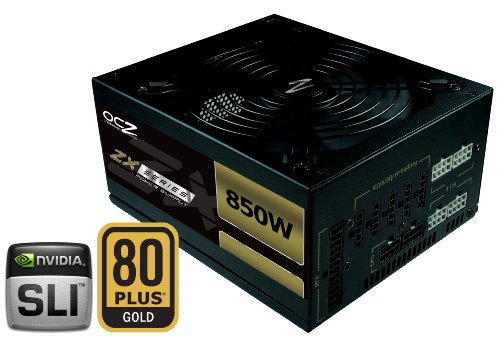 OCZ 850W ZX Series PSU 80+ Gold Rated Ultra Quiet Double Ball Bearing Fan and EU Cable