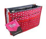 Periea Handtaschen-Organiser Geldbeutel-Einsatz 12 Fächer - Chelsy (Rot/Weiß, M)