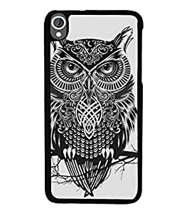 Fuson Premium Grey Owl Metal Printed with Hard Plastic Back Case Cover for HTC Desire 820