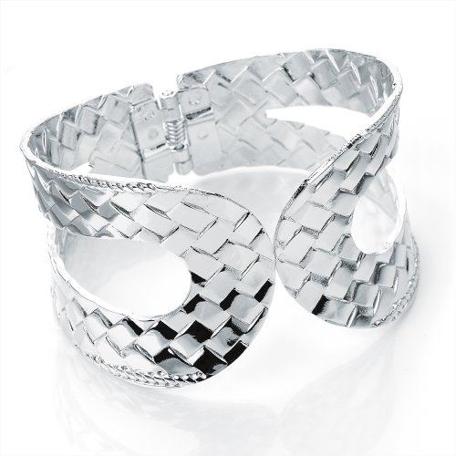 Hinged Fashion Bangle Silver