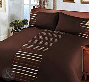 MODERN STRIPED Duvet Cover Poly Cotton Bedding Quilt Cover Ribbon Satin Bed Set Chocolate Brown King Size Duvet Cover ( kingsize )