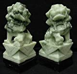 "Unique Business Corporate Gift Idea for Him / Her - 8"" Pair Carved Jade Foo Dog Book Ends"