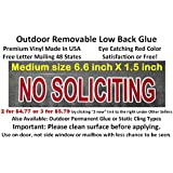 Cheap and best reviewed NO SOLICITING sign sticker, outdoor removable low back glue (not static). Transparent with red color like a stop sign to keep solicitors away!