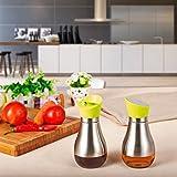 KELLM Green High Precision No Drip Glass Olive Oil Bottle,Vinegar/Soy Sauce Dispenser Cruet,13 oz
