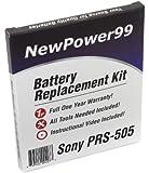 Akku-Austausch-Kit für den Sony PRS-505 eReader mit Installations-Video, Werkzeuge und langarbeitender Akku