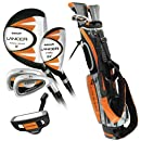 Intech Lancer Junior Golf Set, (Right-Handed, Age 8 to 12, 17.5 degree Driver, 4/5 Hybrid Iron, Wide Sole 7 and 9 irons, Junior Putter, Deluxe Stand Bag)