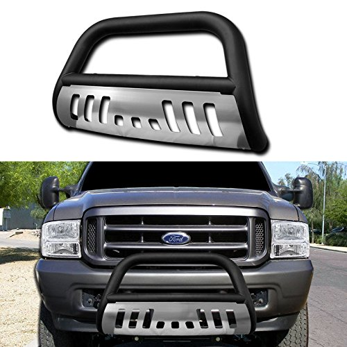 Matte Black Front Bumper Bull Bar Guard w/ Brushed Chrome Skid Plate For 1999-2007 Ford F250 / F350 / F450 / F550 Superduty Models ( Won't Fit Harley Davidson Edition); 2000-05 Ford Excursion (2004 Ford F350 Bull Bar compare prices)