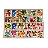 Rolimate Deluxe Clásico 26 piezas de madera Juguetes de puzzle forma Bundle letras Peg