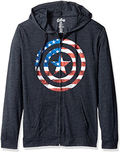 Marvel Men's American Flag Captain America Light Weight Jersey Hoodie, Black, Large (Captain America Hoodies For Men compare prices)