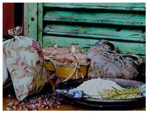 """Kunstdruck """"Leinensack und Kerzen"""" - 50x70x3 cm - Extraklassiges Leinwandbild, Keilrahmenbild. Unerreichbare Qualität!"""