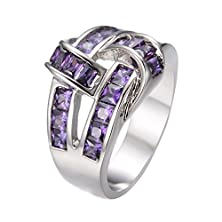 buy Rongxing Jewelry Purple Amethyst Band Women/Man'S White Gold Engagement Ring Size 10