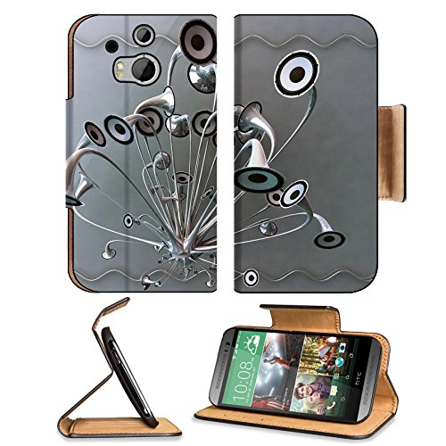 Variety Silver Metallic Speaker Design Htc One M8 Flip Case Stand Magnetic Cover Open Ports Customized Made To Order Support Ready Premium Deluxe Pu Leather 6 4/16 Inch (158Mm) X 3 4/16 Inch (82Mm) X 9/16 Inch (14Mm) Luxlady Htc1 Cover Professional M 8 Ca