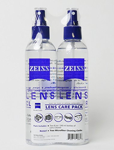Zeiss Lens Care Pack - Two 8 oz Bottles of Lens Cleaner, Two Microfiber Cleaning Cloths