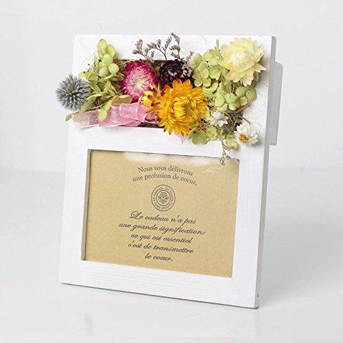 優しいお花がいっぱいのフォトスタンド ドライフラワー 写真立て