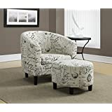 Monarch Specialties Vintage French Fabric Accent Chair and Ottoman, 30-Inch