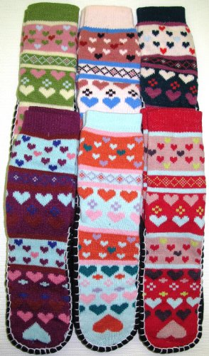 Fuzzy Socks Stripes Multi Colors 6 Pack Size 9-11 Crew Length