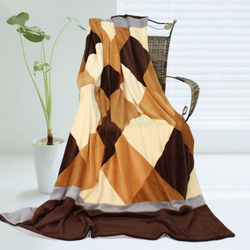 Onitiva - [Plaids - Traces Of Dreams] Soft Coral Fleece Patchwork Throw Blanket (59 By 78.7 Inches) front-561414