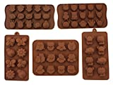 Anfimu Set of 5 Silicone Animal Insect Chocolate Candy Making Mold Tray for Making Homemade Cake, Candy, Chocolate, Gummy, Ice, Crayons, Jelly, and More