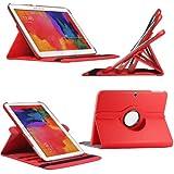 Etui Luxe Rotatif Rouge pour Samsung Galaxy Tab Pro 10.1 SM-T520 T525 + STYLET et FILM OFFERTS !