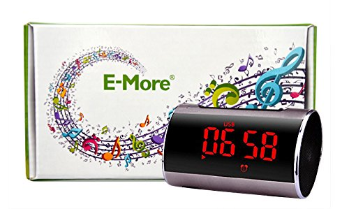 E-More® A46 Super Bass Stereo Mini Speaker Wireless Portable Mp3 Player Audio Amplifier Support Tf Wirelss Stereo Music Adapter Card Usb Fm Radio Mini Speaker With Alarm Clock Built In Speakerphone,Mini, Mobile, 3.5Mm Audio- Works With Any Bluetooth Enabl