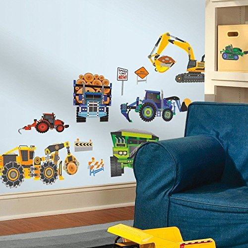 Construction Truck 18 Wall Decals Dump LOG Tractor Signs Room