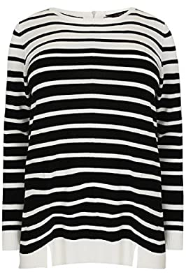 Yoursclothing Plus Size Womens Jumper With Zip & Hem Details