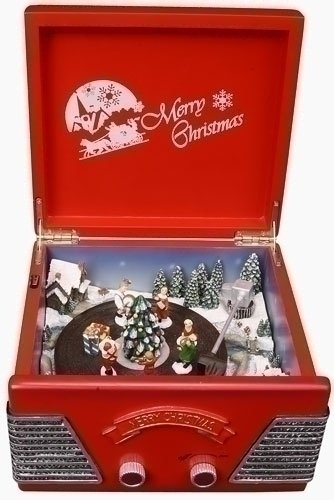Retro Animated Decorative Vintage Record Player Christmas Music Box