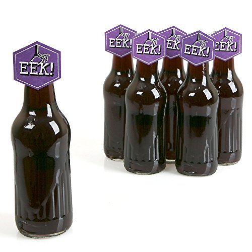 [Eat, Drink and Be Scary - Chevron Green and Purple - Shaped Halloween Party Favors Bottle Toppers 12] (Soda Bottle Costumes)