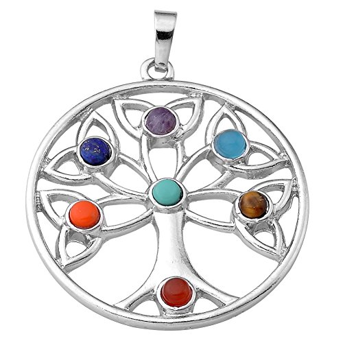 JOVIVI 7 Chakras Gemstone Pendant Crystal Reiki Healing Balancing - The tree of Growth Style