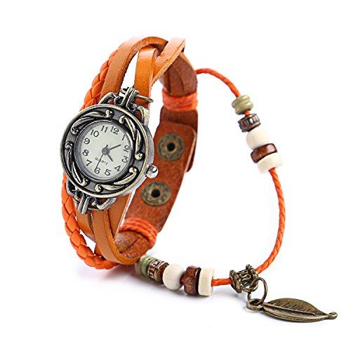 Dayan Leaf Charm Women Ladies Weave Wrap Around Leather Belt Bracelet Watch Orange