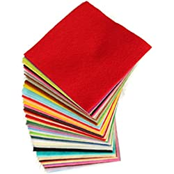DIY Polyester Felt 50 Pcs 10x10cm/4x4inch, Nonwoven Fabric Sheet for Craft Work Type A Super Soft Squares, About 1.5mm Thick