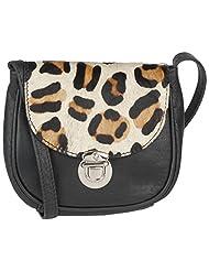 Massimo Italiano Women's Leather Small Sling Bag (White & Black)