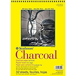 Strathmore 300 Series Charcoal 9''x12'' Natural White Laid 95 GSM Paper, Short-Side Spiral Bound Album of 32 Sheets