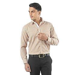 ZIDO Yellow Blended Men's Checks Shirts PCFLX1302_Yellow_50