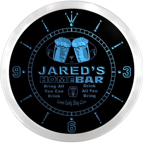 Ncp0226-B Jared'S Home Bar Beer Pub Led Neon Sign Wall Clock
