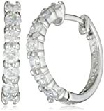 Sterling Silver Simulated Diamond Hoop Earrings (0.6
