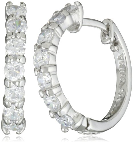 Sterling Silver Simulated Diamond Hoop Earrings (0.6&quot; Diameter)