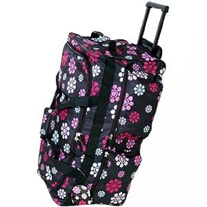 Large 27 Inch Wheeled Holdall Bag (Daisy Black)