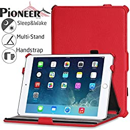 Navitech iPad Mini 3 Red Case / Cover With Multi Stand, Stylus Holder & Handstrap