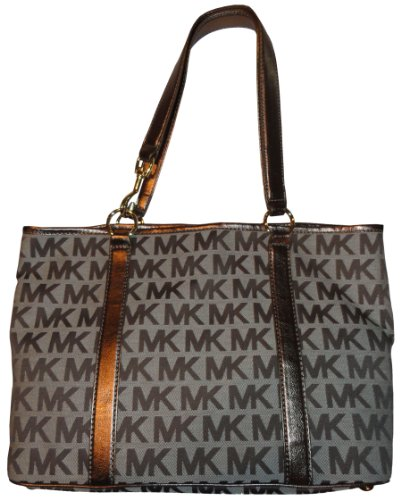 Michael Kors Purse Handbag Signature Logo Jacquard East/West Summer Tote Beige/Ebony/Bronze