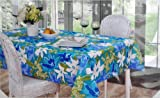 "Vera Neumann Indoor/Outdoor Fabric Tablecloth 60"" X 102"", Mayflower/Aqua"
