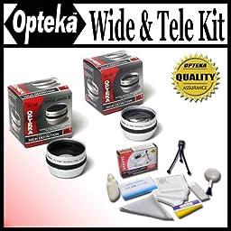 Opteka 0.5x Wide Angle & 2x Telephoto HD2 Lens Set For Sony DCR-DVD408, DVD508, DVD808, DVD908, HC1000, HC85, IP210, IP220,PC100, PC110, PC115, PC120, PC330, SR190, SR200, SR290, SR300, SX45, SX65, SX85, TR7000, TR7100, TRV103, TRV110, TRV120, TRV130, TRV