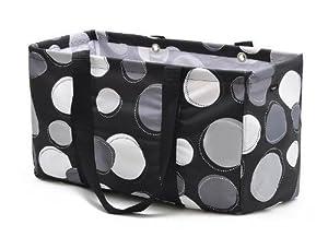 Scratch & Dent Thirty One MEDIUM UTILITY TOTE Laundry Basket Bag 31 gift BLACK HAPPY DOT