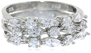 Sterling Silver Cubic-Zirconia Frontal Stackable Ring, Set of Three, Size 6