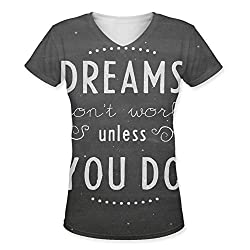 Snoogg Dreams Do Not Work Until You Do Womens Casual V-Neck All Over Printed T Shirts Tees
