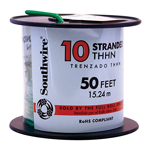 Southwire 22977336 Simpull THHN or THWN2, 10 Gauge THHN Stranded Wire, 50' per Roll, Green (Thhn Wire 10 Gauge compare prices)