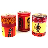 Set Of Three Boxed Hand-Painted Candles - Damisi Design