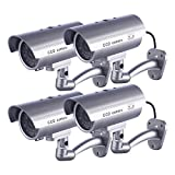 IDAODAN Dummy Security Camera, Fake Cameras CCTV Surveillance System with Realistic Simulated LEDs for Home Security + Warning Sticker Outdoor/Indoor Use, Pack of 4