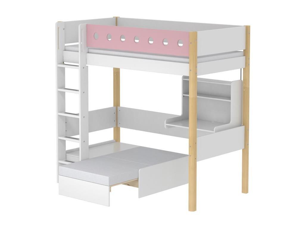 Hochbett Casa Weiß mit Gerader Leiter und Schreibtisch, 90x190cm, Flexa White bestellen
